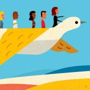 colorful illustration of leaders on a geometric bird