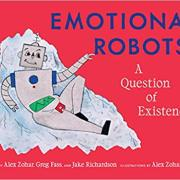 A cartoon robot lays down against a red background.
