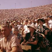 Fans at the Los Angeles Memorial Coliseum during a Dodgers baseball game, 1957.
