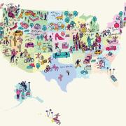 Illustrated map of US