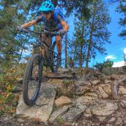 Sonya Looney on her mountain bike in Colorado