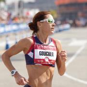 Kara Goucher runs in a race.