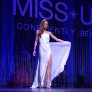 Emily DeMure posing at Miss Colorado