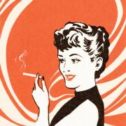 lady smoking cartoon