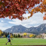 mountain range on CU boulder campus