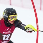 Racer in the CU ski team