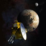 Illustration of NASA's New Horizons spacecraft approaching Pluto