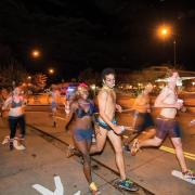 Students running the Nearly Naked Mile
