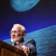 Buzz Aldrin on stage