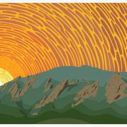 A digital illustration of the Flatirons against an orange sky.