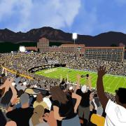 Rachel Maly's artwork depicts a football game at Folsom Field from the point of view of a fan in the stands.