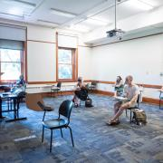 CU Boulder professor Dimitri Nakassis teaches a socially distanced class in the Hale Science Building.