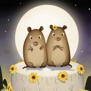 Praire Voles on top of a wedding cake