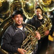 Tuba player in the CU Marching Band
