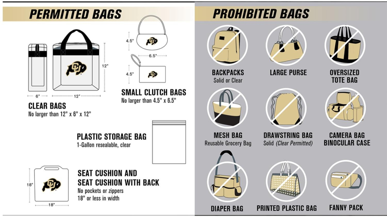 Image of items not allowed in Folsom Field