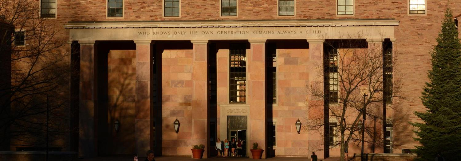 Photo of Norlin Library in the early morning sun