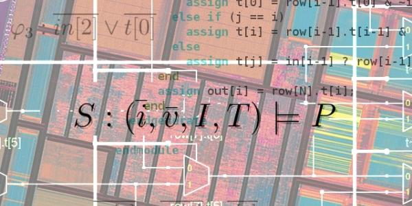 Computer algorithm on a colorful background