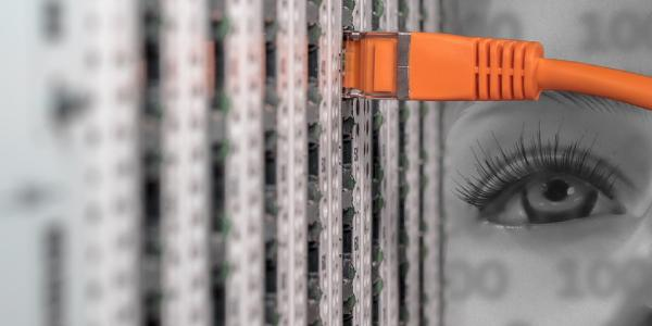 An illustration of a woman's eye looking at the back of a server
