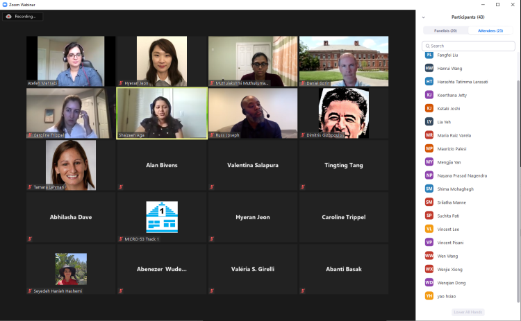 Zoom Screenshot of the panelists and organizers