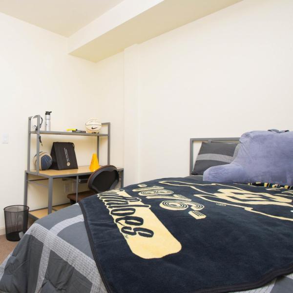 Single Bear Creek Room with bed, desk, chair,  bathroom, carpet, window, dresser