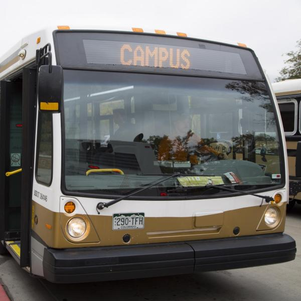 Buff Bus in front of Williams Village