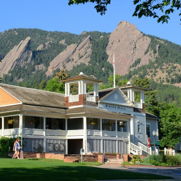 Chautauqua Dining Hall at the base of Flatirons Mountains