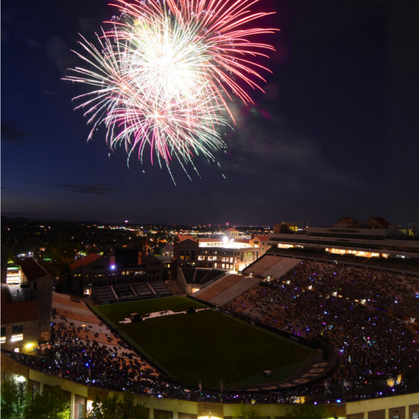 Fireworks over Folsom Field on 4th of July