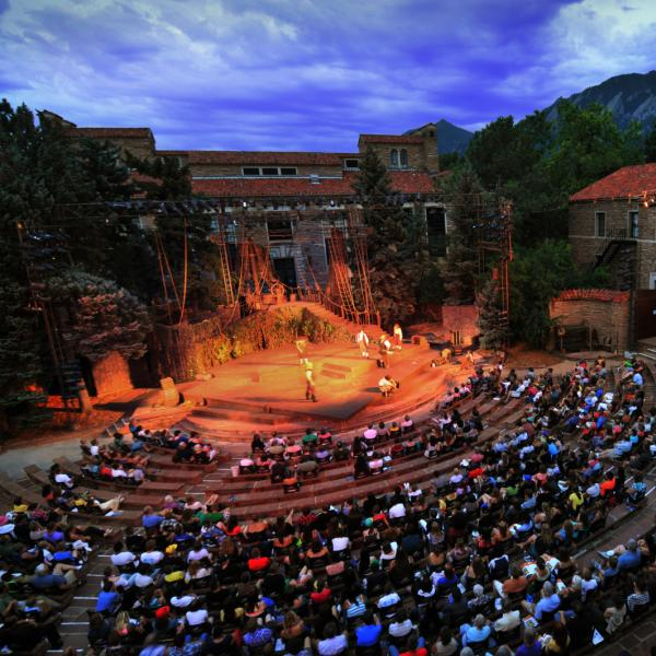 Outdoor theater in the evening