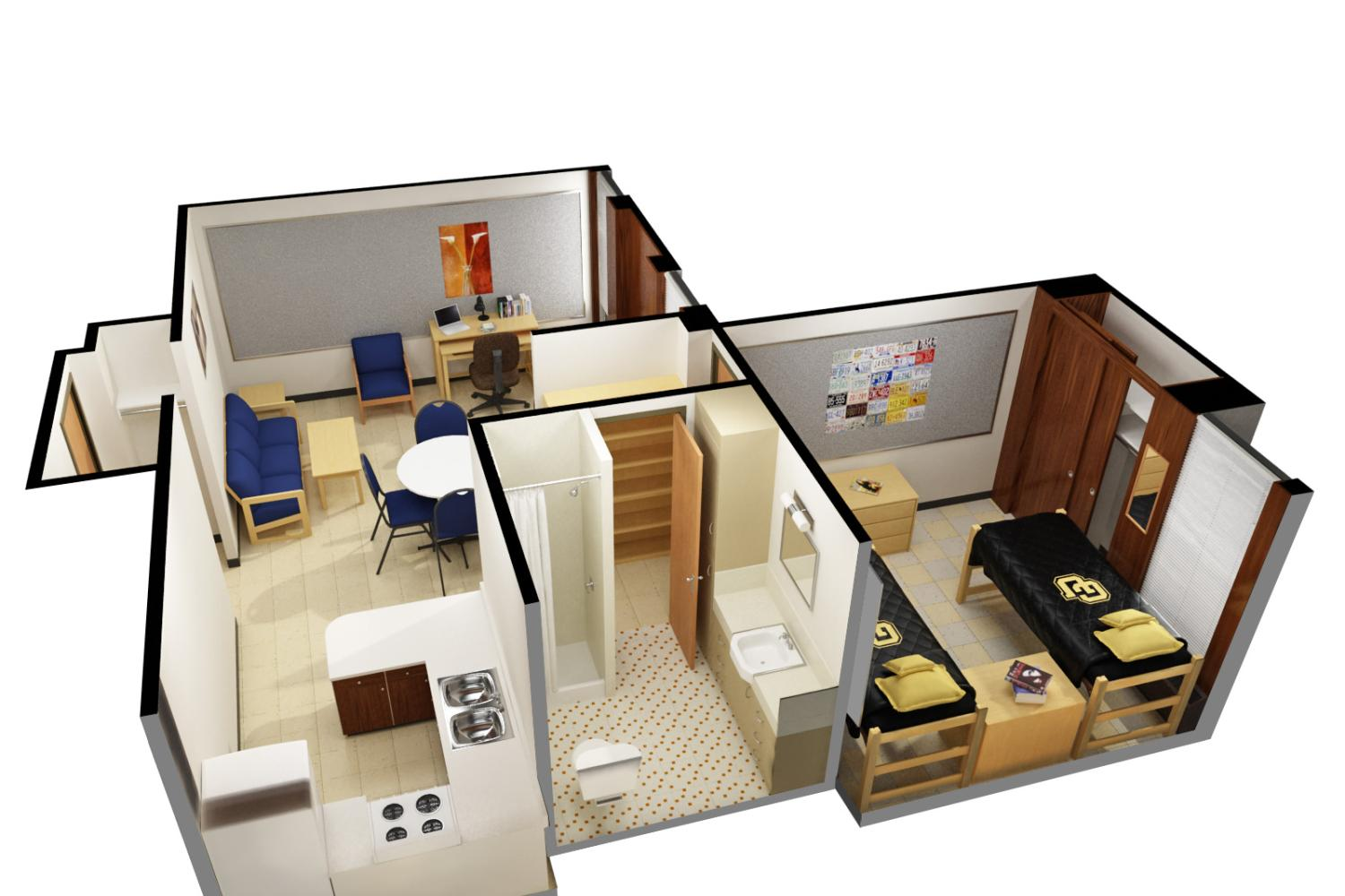 3D image of Stearns East two person apartment
