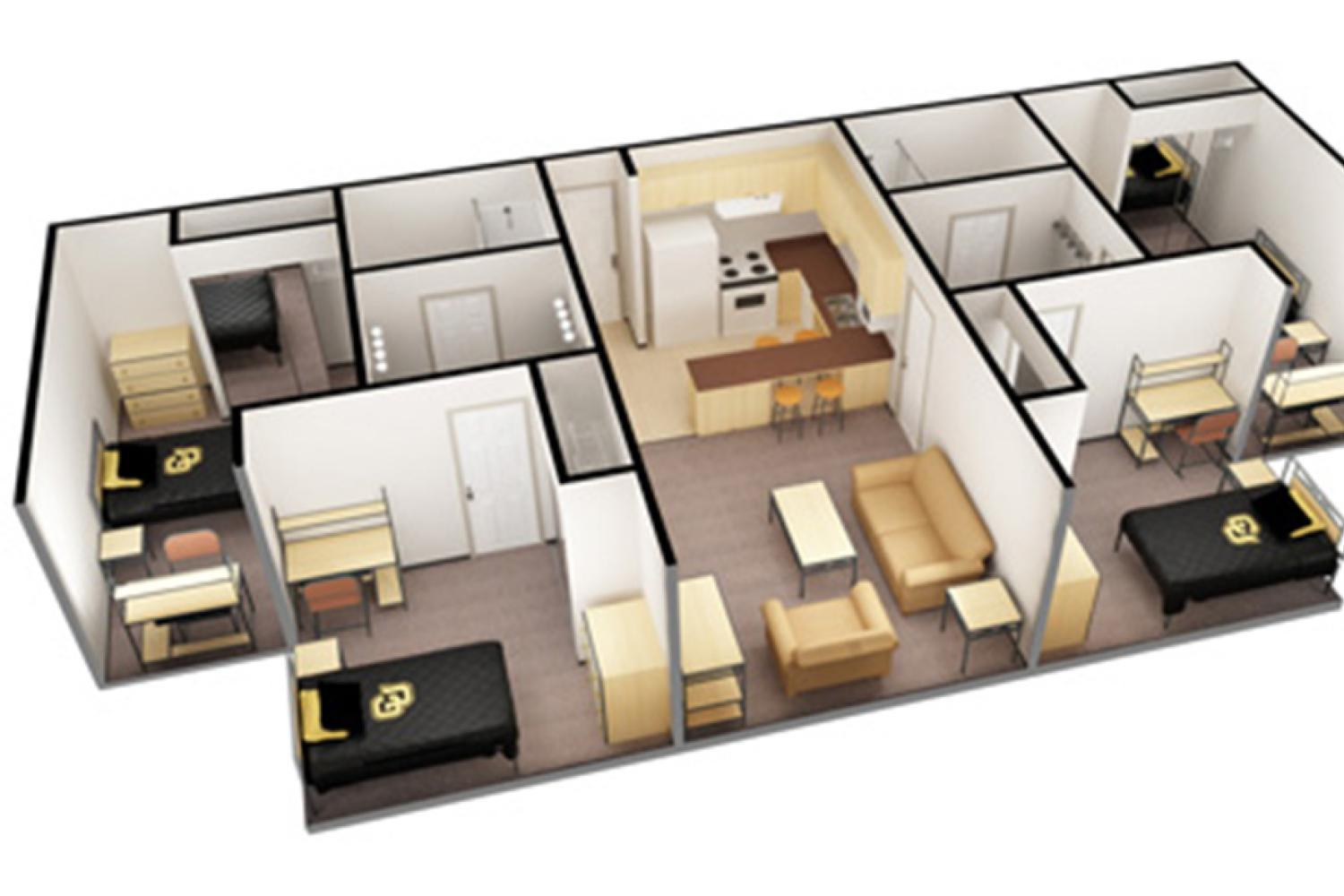3D apartment layout - 4 single rooms surrounding living room and kitchen, two bathrooms