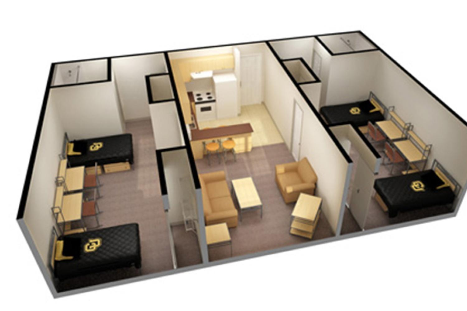 3D image with two double rooms, two bathrooms, living room, kitchen