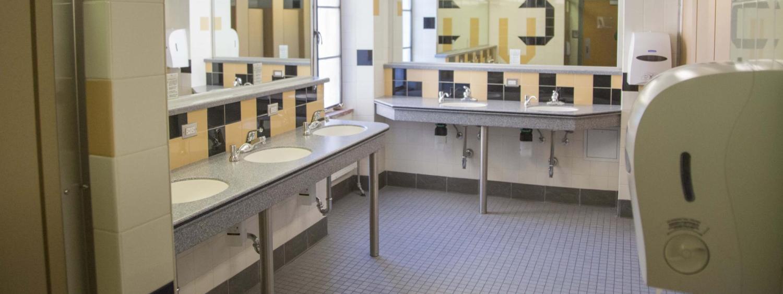 Community bathroom in Farrand Hall