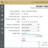 project ending status in mFin