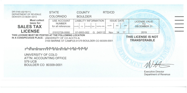 Sales Tax License for State of Colorado