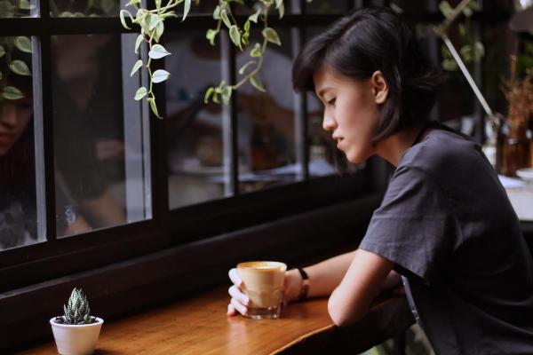 Person in a cafe