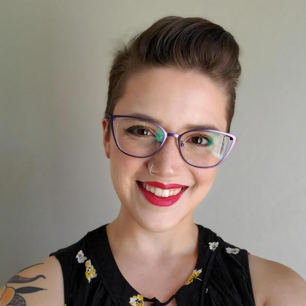 smiling person with red lipstick