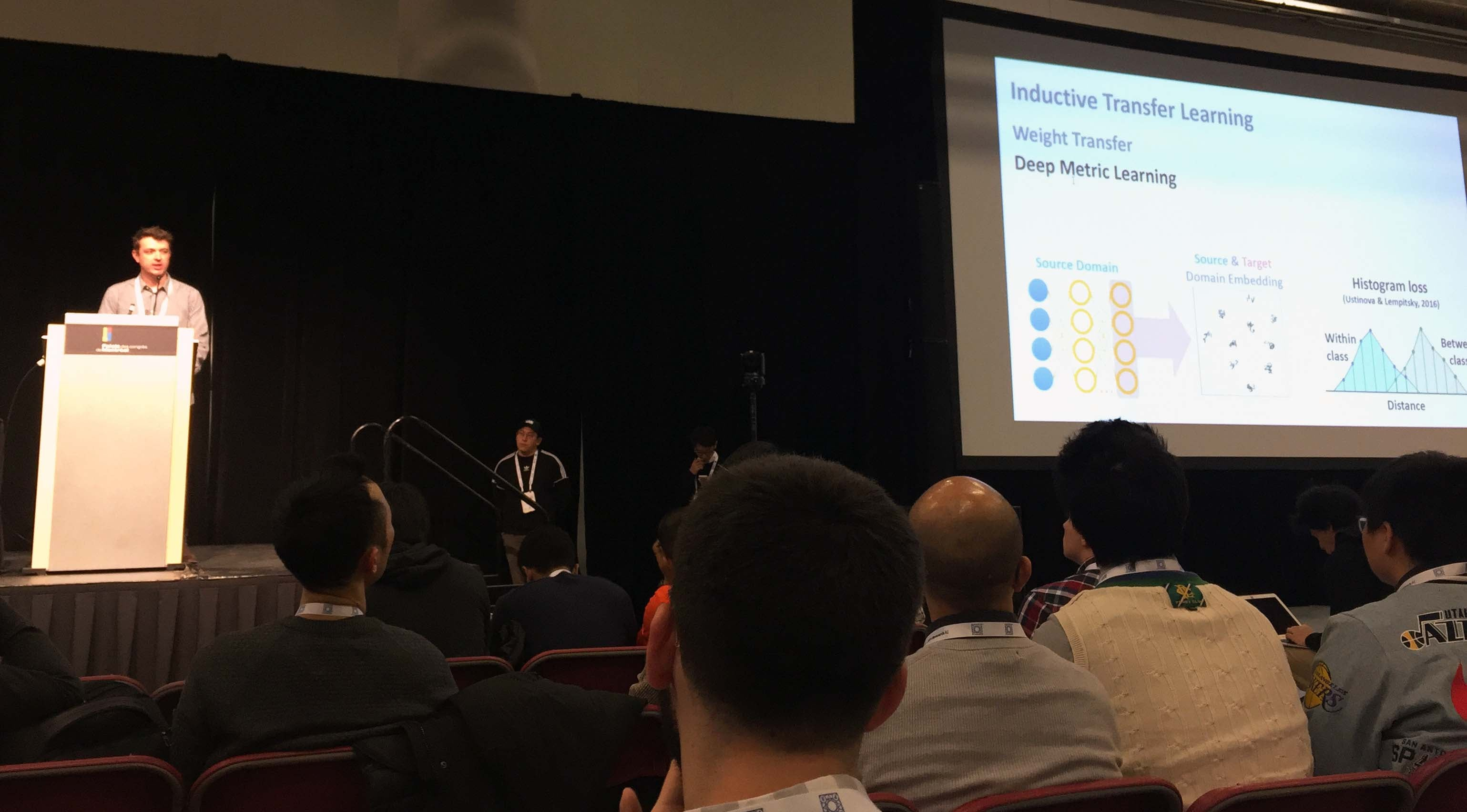 Scott presents his research at the NeurIPS conference in 2018.