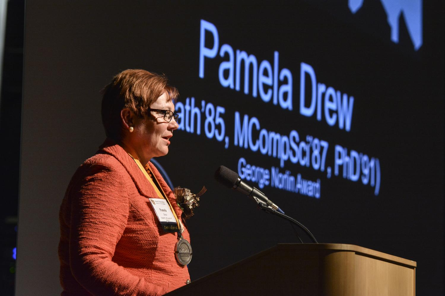 Pam Drew gives remarks at the Norlin award ceremony.