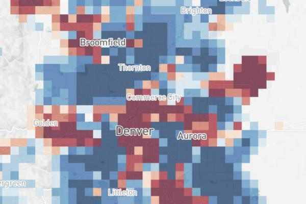 Population density overlaid on Colorado map using Facebook location data to track spread of COVID