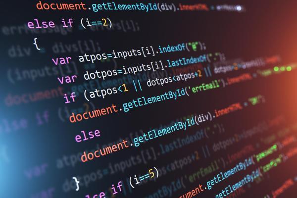 Programming code displayed on computer screen