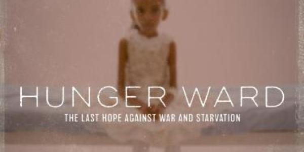 Hunger Ward Film Poster with an out-of-focus photo of a small child sitting on a bed