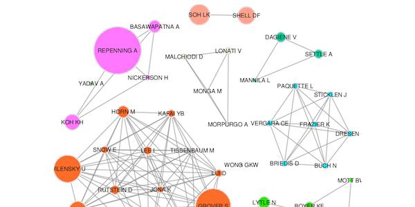 Image shows Co-author network of CT-related articles in Scopus database, created by Mohammed Saqr.