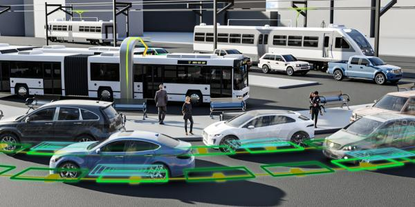 An illustration showing a street filled with electrified, networked buses and cars.