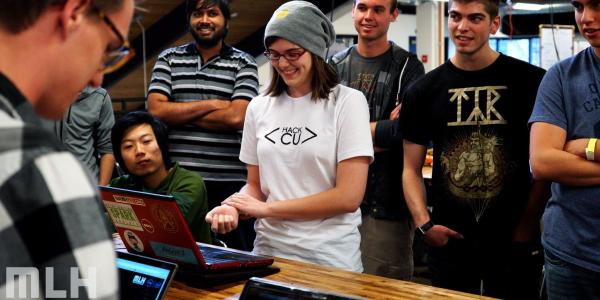 Students compete in a challenge at Hack CU