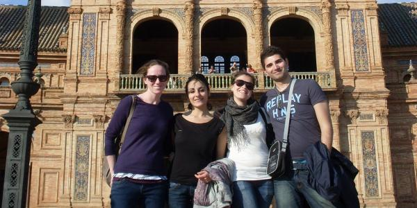A group of students poses in the Plaza Espana in Seville, Spain.