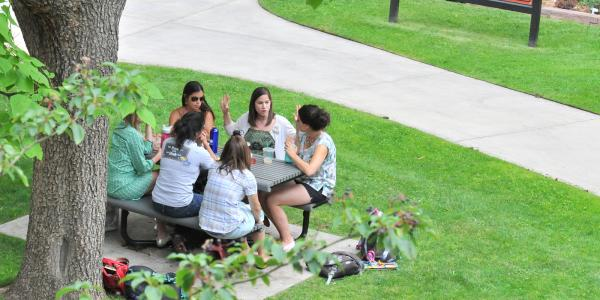 Students study outside at a picnic table.
