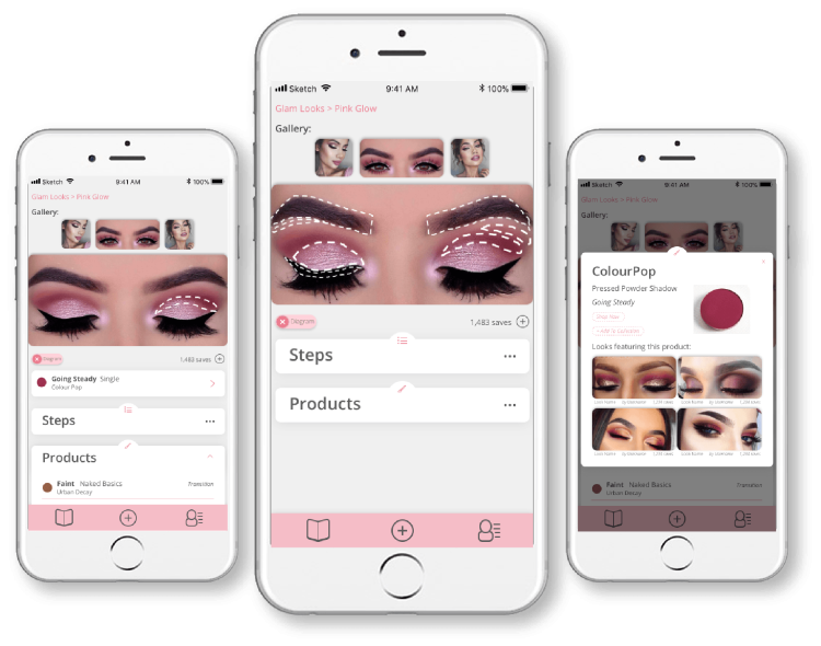 Preview images of the app, showing makeup tutorials.