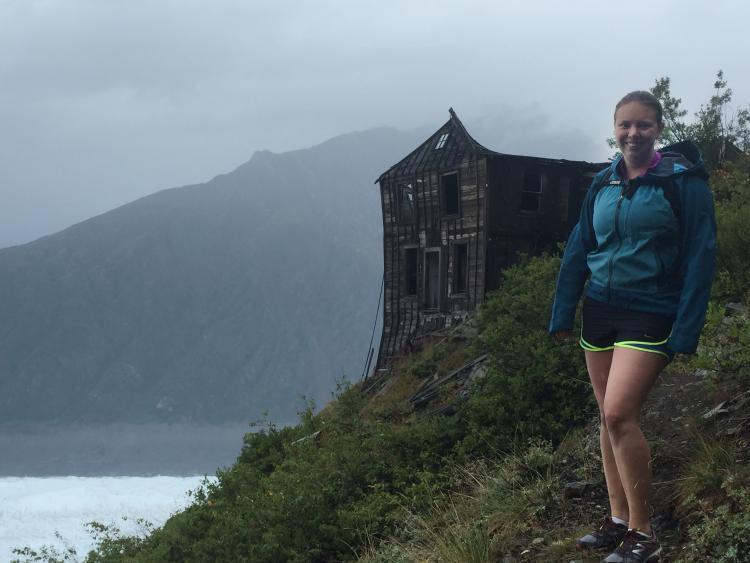 Alex Okeson on a hike in Alaska.