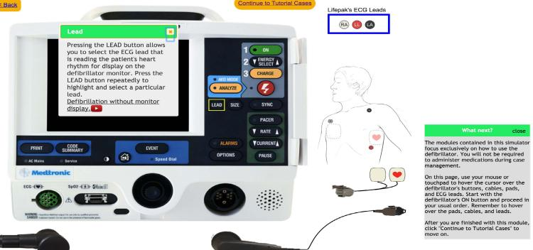 A screenshot of the simulated defibrillator showing a tutorial for users