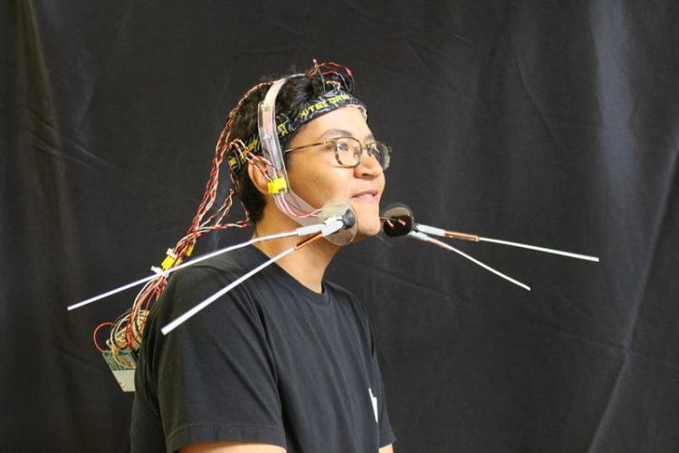 Chris Hill wearing his cat-whisker prototype